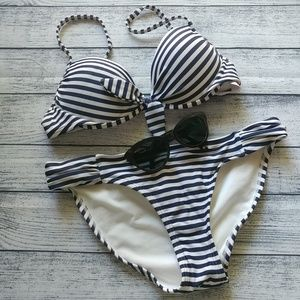 Navy/white strapped two-piece swimsuit